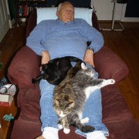 Bill Hamby with Merlin, Sassy, and Lester