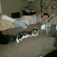 Joanne McCravy with Emerson, Abby, Mona, and Charlie