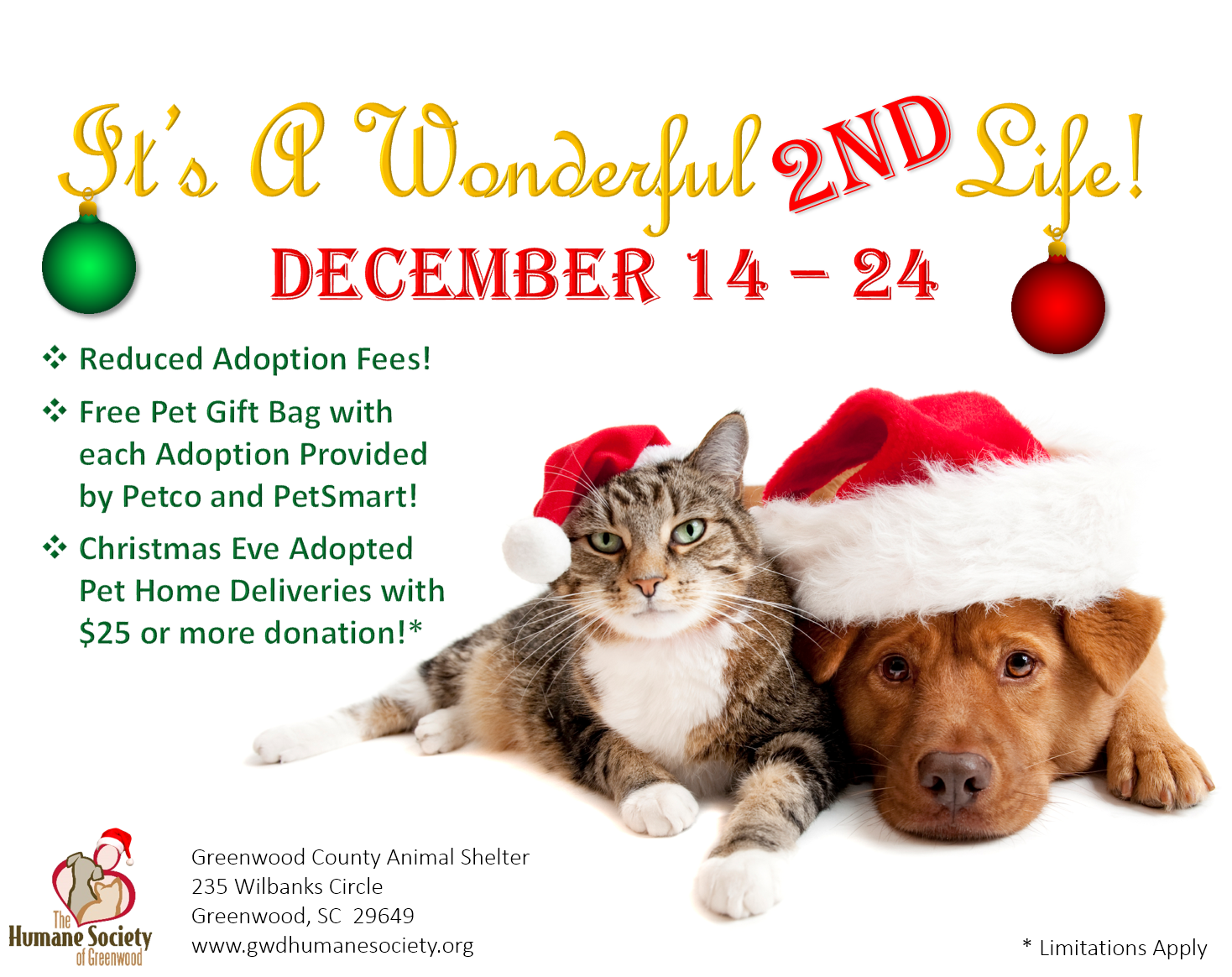"It\'s A Wonderful 2nd Life"" Adoption Special! – The Humane Society of ..."