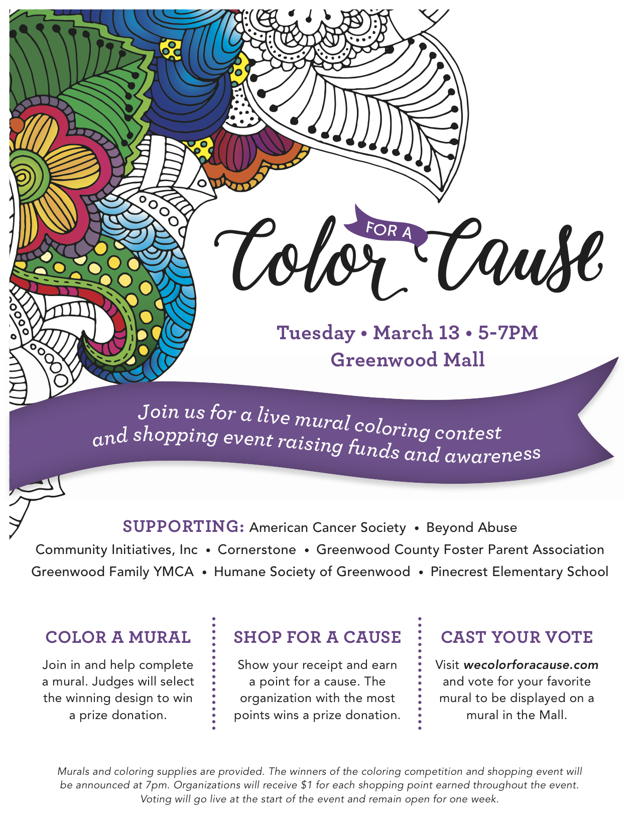 color for a cause tuesday march 13 from 5pm 7pm greenwood mall